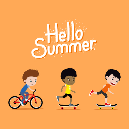 Three boys riding skateboards and a bike. Cute cartoon Hello Summer illustration.