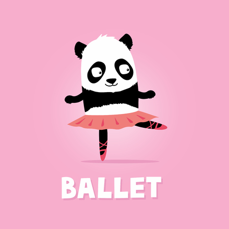 Ballet dancer panda bear. Cute cartoon illustration on pink background