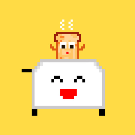 Vector pixel art 8 bit cartoon illustration of funny white toaster with fresh hot toast isolated on yellow background vector eps 10