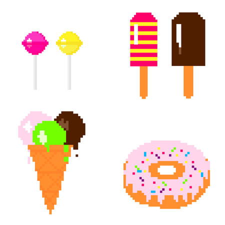 eps vector art: Illustration 8 bit pixel art set sweets lollipop pink and yellow ice cream chocolate donut isolated on white background vector eps 10 Illustration
