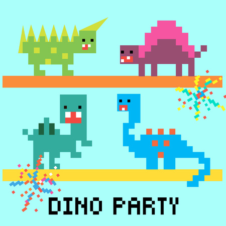 Pixel 8 bit cartoon illustration set of isolated colorful variegated dinosaurs dancing with fireworks and lettering Dino party on blue background