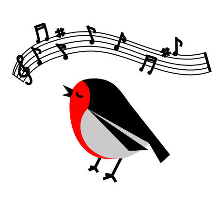 tweets: Flat drawing of cute little bird black and red bullfinch sings tweets music notes isolated on white background vector eps 10