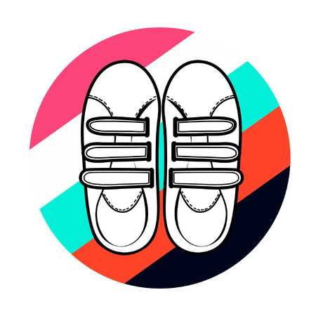 velcro: Icon sneakers silhouette of white sneakers with velcro on colorful striped circle isolated on white background vector eps 8 Illustration