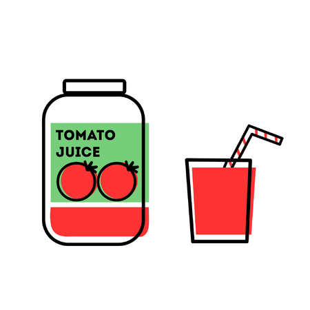 tomato juice: Line art flat illustration glass jar tomato juice and glass with red liquid and striped straw isolated on white background vector eps 10