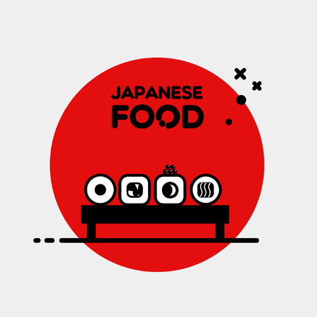 Flat illustration black colored Japanese food sushi roll set on stand isolated on red circle and grey background vector eps 10 Illustration