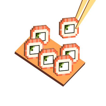 Pixel isometrische Darstellung traditionelle japanische Lebensmittel-Sushi rollt Philadelphia mit Stäbchen Holz Tablett auf weißem Hintergrund Vektor eps 10