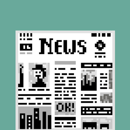 newspaper stack: Funny illustration pixel art 8 bit black and white newspaper isolated on green background vector eps 10