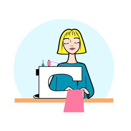 Dressmaker illustration cartoon flat girl blonde seamstress sitting on the table with sewing machine isolated on white background vector eps 10