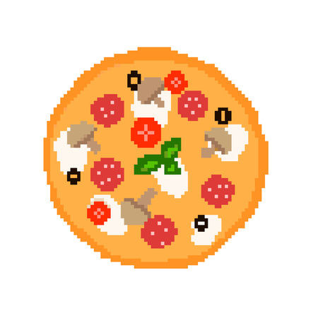 Illustration 8 bit pixel art cartoon food pizza with salami tomatoes mushrooms olives mozzarella basil baked isolated on white background vector eps 10