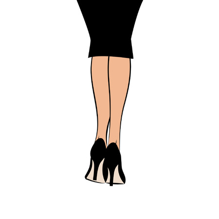 legs heels: Vector graphic illustration silhouette of female legs in skirt isolated on white background in high heels black stiletto shoes vector eps 10