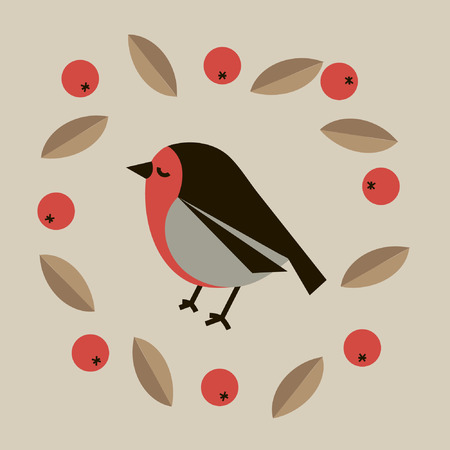 twit: Bird flat drawing of cute little bird bullfinch surrounded by red rowan berries and brown leaves isolated on pastel color background single bird vector