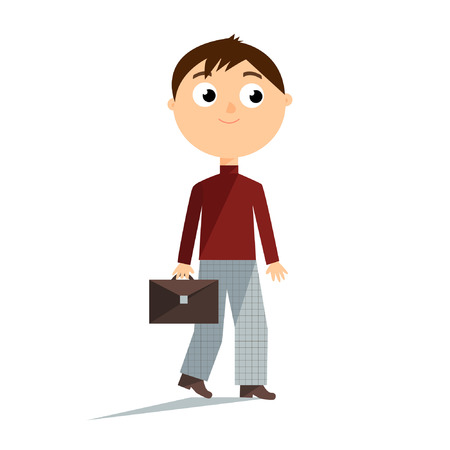 grey hair: Cartoon flat illustration boy brown hair in vinous sweater grey trousers and boots isolated on white background vector eps 10