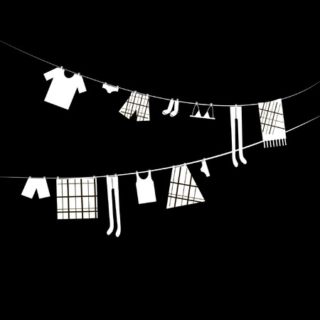 hanging clothes: Vector cartoon abstract drawing of white hanging clothes on black background on the ropes vector eps 8 Illustration