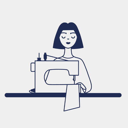 Illustration line art flat graphic dressmaker icon silhouette young girl seamstress sitting with sewing machine on the table isolated vector eps 10