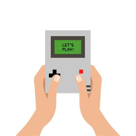Ilustración del vector tomados de la mano consola de juegos con las letras Deja el juego de gameboy pantalla verde aislado sobre fondo blanco vector EPS 10 Ilustración de vector