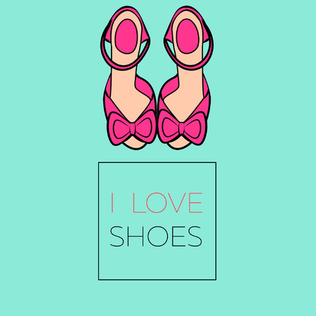 sandals isolated: Flat illustration female pink high heel shoes sandals with bows isolated on green background with lettering I love shoes vector eps 10
