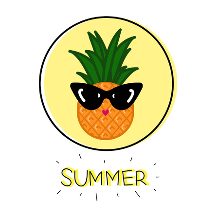 Illustration cartoon pineapple icon in sunglasses and hand-drawn lettering Summer on yellow circle isolated white background vector eps 10
