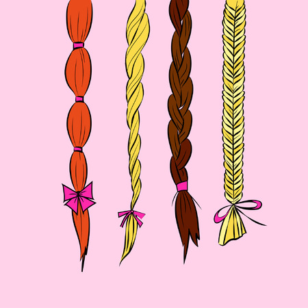 tress: Cartoon hair braids thin line art illustration set of different hair braids blonde brown hair redhead with bows isolated on pink background vector eps 10