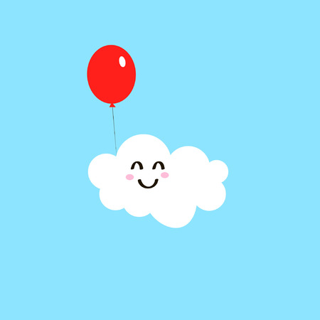 Cartoon funny drawing of white cloud happy with red balloon isolated on blue background vector icon
