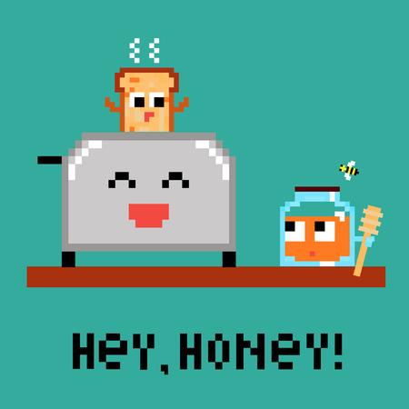 Pixel art 8 bit cartoon illustration funny toaster fresh hot toast jar of honey bee wooden spoon isolated on green background Hey! vector eps 10 Illustration