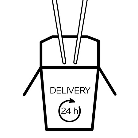chinese take away container: Asian restaurant line art black icon opened carton box with Delivery 24 h lettering and chopsticks isolated on white background