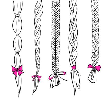 Line art cheveux silhouette Illustration ensemble de 5 tresses de cheveux différentes avec des arcs de ruban rose isolé sur fond blanc vecteur eps 10