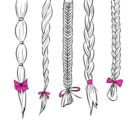 hair bow: Line art silhouette hair Illustration set of 5 different hair braids with pink ribbon bows isolated on white background vector eps 10