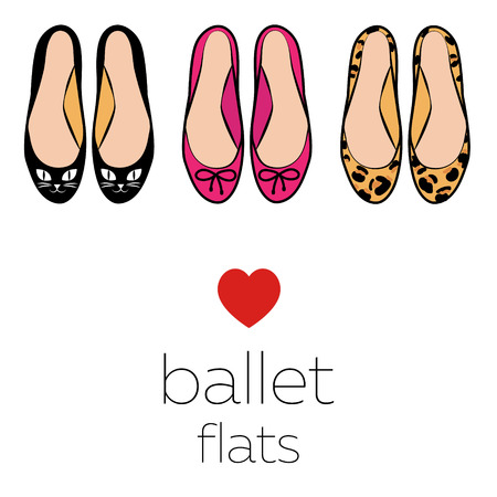 pairs: Illustration set three pairs of fashion style ballet flats shoes cats pink bows leopard color isolated on white background vector eps 10