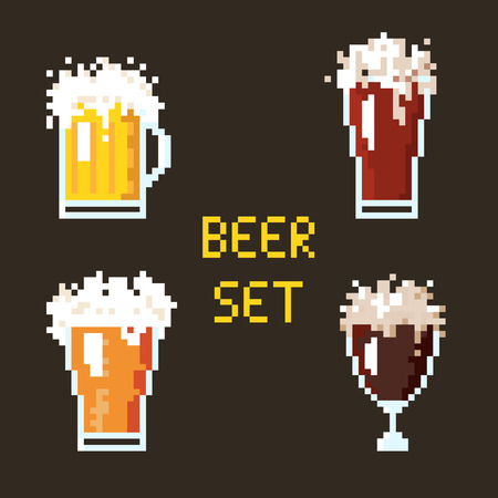 stout: Illustration 8 bit cartoon pixel art set of beer goblets with lettering isolated on brown background vector eps 10