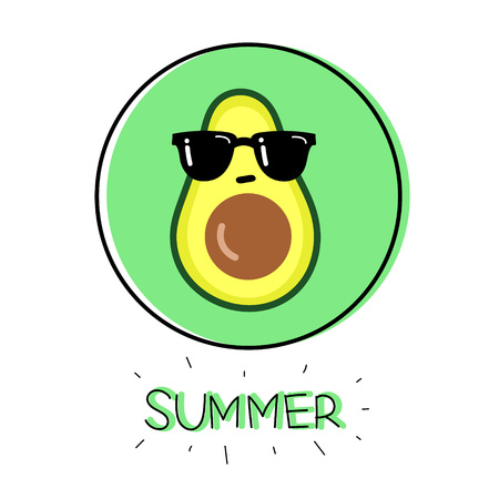 Illustration cartoon funny avocado icon with black sunglasses and hand drawn lettering Summer in green and black circle isolated on white background vector