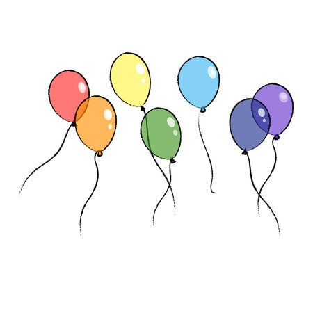 eps: Illustration set cartoon for children with rainbow hand drawing balloons isolated on white background vector eps 10 Illustration