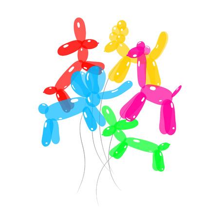 ballon animal coloré jeu de tas de caniche de chien, éléphant, girafe et teckel illustration isolé sur fond blanc vecteur eps 10