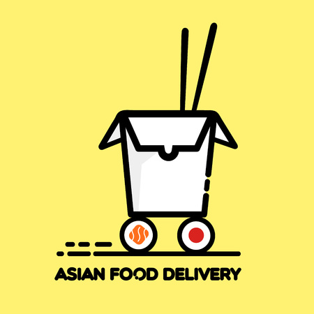 chinese take away container: Asian restaurant line art icon opened carton box with sushi wheels and chopsticks lettering Food Delivery isolated on yellow background vector eps 10 Illustration