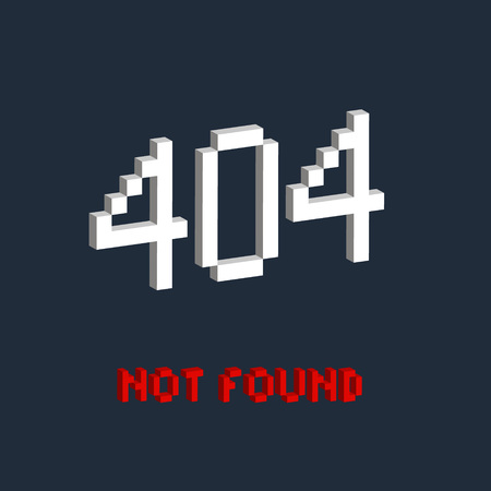 bit background: Isometric illustration pixel art 8 bit for website page not found 404 error red color isolated on blue background vector eps 10