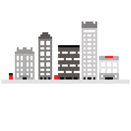 windows 8: Pixel set 8 bit cartoon illustration of grey colorful line art different city buildings with windows isolated on white background  vector eps 10