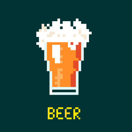 stout: Illustration 8 bit cartoon pixel art of beer goblet with lettering isolated on green background vector eps 10
