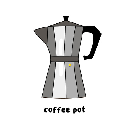 Illustration of colorful hand drawn grey metal coffee maker isolated on white background vector eps 10