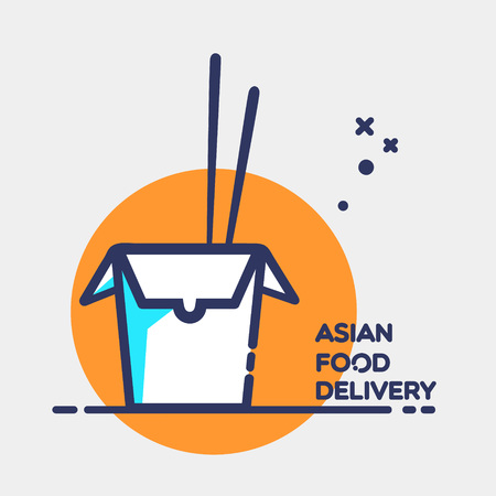 chinese take away container: Asian restaurant line art blue icon opened carton box with lettering Food Delivery and chopsticks isolated on orange circle and grey background vector eps 10