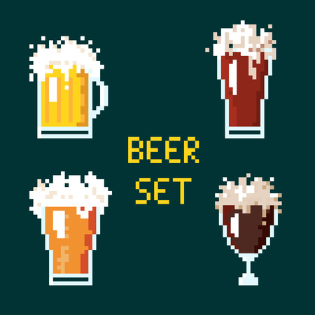 Illustration set 8 bit cartoon pixel art of beer goblet with lettering isolated on green background vector eps 10 Stock Photo