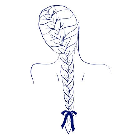 Cartoon Mädchen Rückansicht Haarflechte Französisch-Stil mit Band Fliege blau umrandet Illustration isoliert auf weißem Hintergrund Vektor eps 10