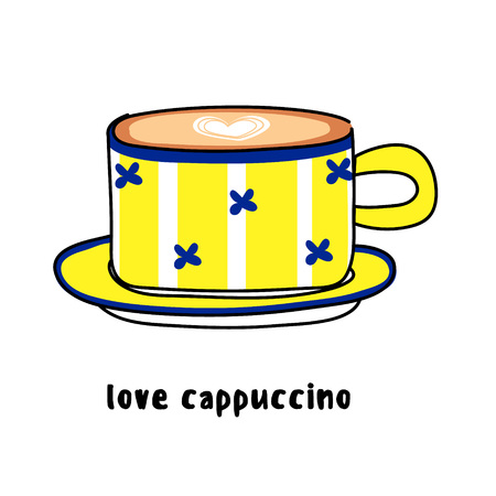 Illustration colorful hand drawn utensils funny yellow pattern cup of coffee cappuccino with heart drawing isolated on white background vector eps 10