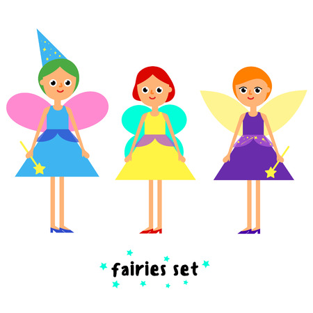 enchantress: Cartoon flat illustration set of girls fairy in colorful dress with wings cap and magic wand isolated on white background vector eps 10