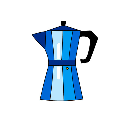drawn metal: Illustration of colorful hand drawn blue metal coffee maker isolated on white background vector eps 10