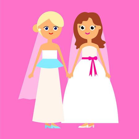 homosexual sex: Lesbian gay couple cartoon funny flat illustration of two women brides in white wedding style dress isolated on oink background vector eps 10