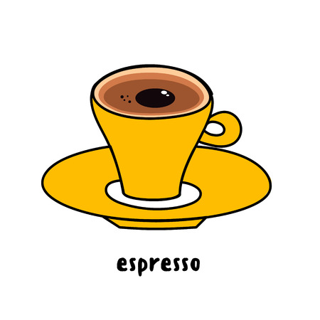Illustration colorful hand drawn utensil funny yellow cup of coffee espresso isolated on white background vector eps 10