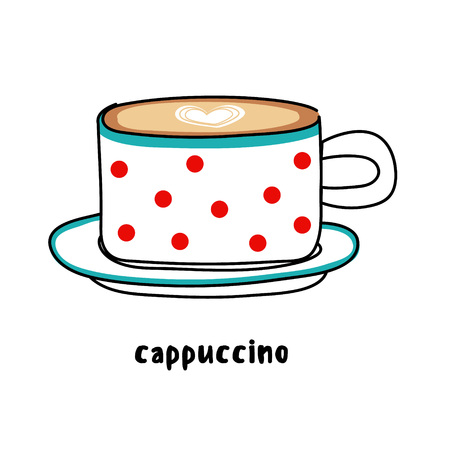 spotty: Illustration colorful hand drawn utensils funny spotty cup of coffee cappuccino with heart drawing isolated on white background vector eps 10