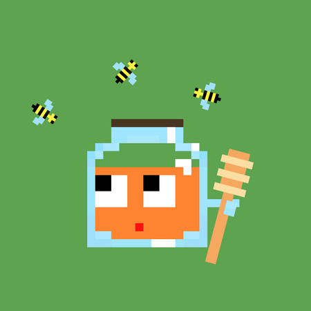 kitchen shower: Cartoon honey pixel art 8 bit cartoon illustration  character blue glass jar of honey with wooden spoon and bees isolated on green background vector Stock Photo