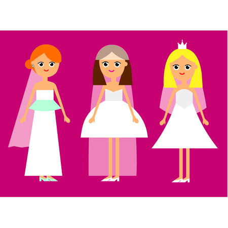 red hair: Cartoon funny flat illustration set bride like a princess in white dress with veil and shoes isolated on pink background vector eps 10