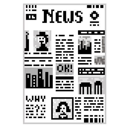 eps vector art: Funny illustration pixel art 8 bit black and white newspaper isolated on white background with lettering News vector eps 10