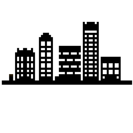 windows 8: Pixel set 8 bit cartoon illustration of black line art different city buildings with windows isolated on white background vector eps 10